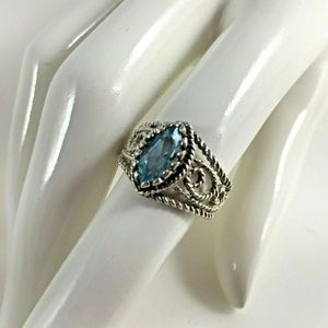 Sterling Silver Blue Topaz Ring 6 1/2 Jewelry Gift